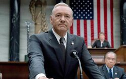 "Kevin Spacey als US-Präsident Underwood in der TV-Serie ""House of Cards"". Foto: David Giesbrecht"