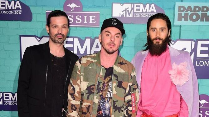 Die US-amerikanische Rockband Thirty Seconds to Mars bei den MTV Europe Music Awards. Foto: Ian West