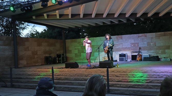 Rock und Rollinger beim Sommer-Open-Air in Münsingen.  FOTO: BLOCHING
