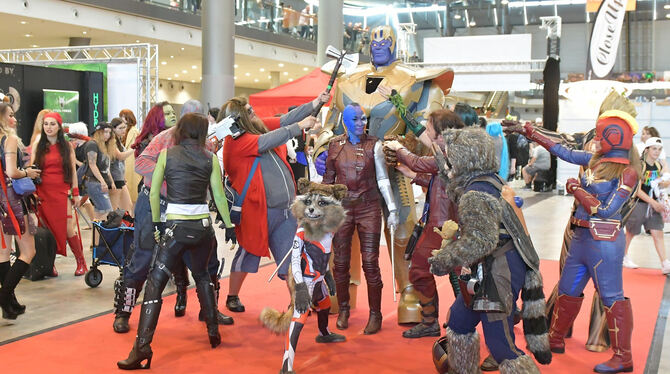 Figuren aus dem »Guardians of the Galaxy«-Kosmos auf dem roten Teppich der Stuttgarter Comic Con.  FOTOS: MEYER