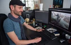 Jan Burda, «Visual-Effects-Artist» bei Mackevision zeigt am 29. April 2015 in Stuttgart die Arbeit an der Serie Game of Thrones.